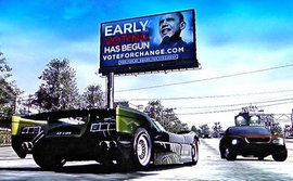 "Electronic Arts, ""Early Voting Has Begun,"" Burnout Paradise Game, 2008 (http://www.autoblog.com)"