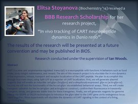 Elitsa Stoyanova (Biochemistry �14) received a BBB Research Scholarship