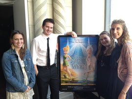 "Emily Nowles '13, Greg Dunbar '10, Kyla Pigoni '13 and Megan Devlin '14 at the premiere of Disney's ""The Secret of the Wings."""