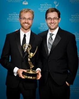 Emmy winners Jeremy Levine '06 (left) and Landon Van Soest '04.   Marc Bryan-Brown Photography