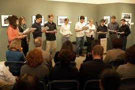 English students participate in a banned book reading at the Handwerker Gallery.
