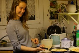Erin Irby successfully flips a crepe.