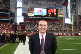 Ethan Medley at Super Bowl 2008.   Photo by Jerry Pinkus