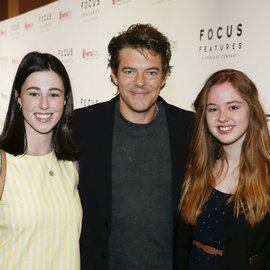Eva Kirie, Jason Blum and Clara Montague pose on the red carpet