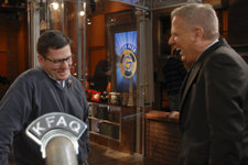 Evan (left) shares a laugh with Glenn Beck.