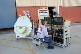 FORCAST pointed at the sky, measure the infrared sky brightness. Chuck Henderson at the controls.