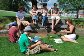 First-year students sit on the Academic Quad during a discussion of the First-Year Reading. Source: Hannah Agatston/The Ithacan.