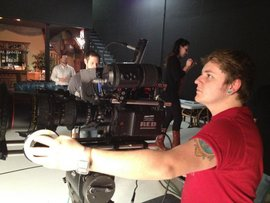 Focusing a RED Camera on a STARZ Movie Channel shoot.
