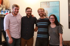 From left, junior Peter Quandt, Landon Van Soest '04, Park Scholar alum Jeremey Levine '06 and junior Maya Cueva learn about independent documentary-m