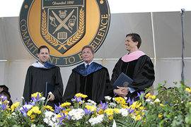 (From left) Adam B. Ellick '99, Kenneth Fisher '80, and Francisco J. Nunez were all awarded honorary degrees. Photo by Gary Hodges