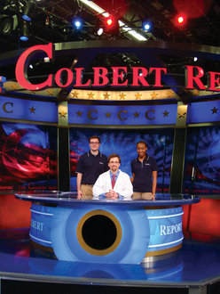 (From left) Andrew Hope '12, Professor Matthew Sullivan, and Jodi-Ann McLean '12 on the Colbert Show set.