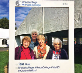 (From left) Bonnie Swick Edwin '64, Roberta Hill Knoll '61, Alice-Ann Schuster '64, and Marie B. Dinoto '64, M.S. '68 at Alumni Weekend 2014.