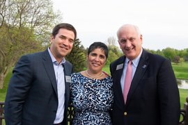 (From left) Dave Lissy '87 poses with President Shirley M. Collado and Chair Emeritus Tom Grape '80. Photo by Cascadilla Photography, Andy Gillis