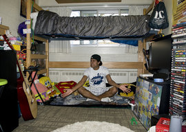 Funniest Room winner Sheraz Iqbal '12 made sure his dorm is an entertaining place to hang out, with comfy seating and a totally chill atmosphere.