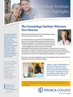 Gerontology Institute Annual Highlights Report 2015-2016