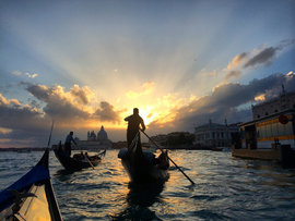 Gondoliers navigate Venice's waterways.