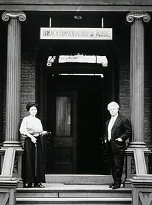 Grant Egbert and student in front of Boardman House