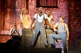 Greg Thymius '84 (far left) performs at the Tonys. (Photo courtesy of Getty Images for the Tony Awards)