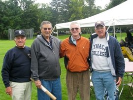 Guido Maiolo, John Fasolino, Tim Lyon and Charlie Boots at football alumni reunion