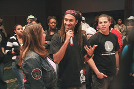 "Hip-hop activist and author J-Love talks to students during ""The Essence of Hip-Hop,"" a free event presented by IC's African-Latino Society."