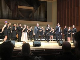 IC-JVE performing with New York Voices at the Dave Riley Memorial Concert, February 2016