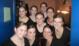 IC Tap Dance Club members smile for the camera.