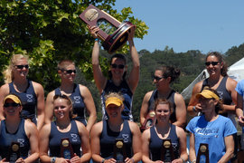 IC Women's Crew Team accept their trophy