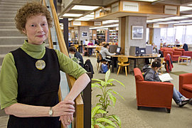 IC librarian Lis Chabot has been running the library since 2003. Photo by Gary Hodges@JonReisPhotography.com
