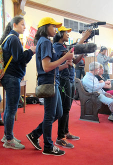 IC students record events held in a Selma church. Photo by Faith Meckley '17