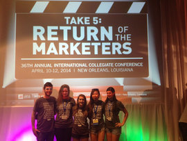 IMC Seniors at AMA Conference (from left: Stefan DiFiore, Grace Erickson, Paige Erlich, E Yiwei Zhu, Rachel Gropper)