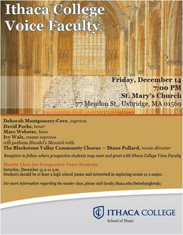 Ithaca College Voice Faculty to Visit MA!  Download Flyer