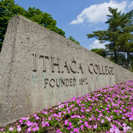 Ithaca College entrance sign