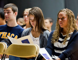 Ithaca College freshman during the 2011 Convocation ceremony.