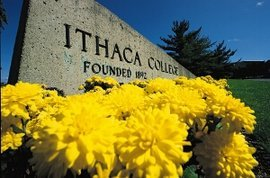 Ithaca College main entrance in spring