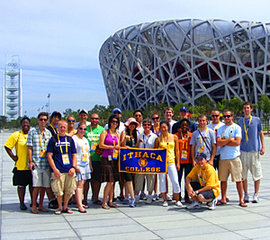 Ithaca College students outside the Bird's Nest at the Beijing Olympics