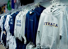 Ithaca College sweatshirts at the bookstore