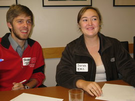 Jackson and Sarah participate in the leadership workshop