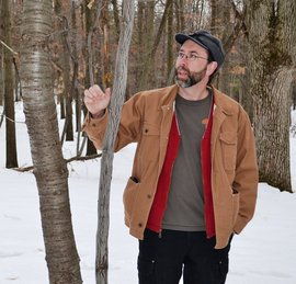 Jason Hamilton in winter woods