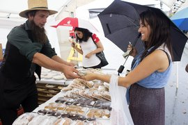 Jen Segal '14 buys baked goods at Apple Harvest Festival. Photo by Kristen Tomkowid '14