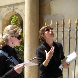 Jennifer Germann speaking with student Jennifer Meckler at Fontainebleau.