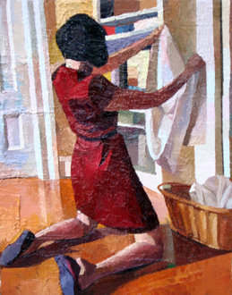 "Jeremy Long, ""Colleen Folding Laundry,"" 2010"