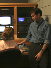Jerry in the studio with student