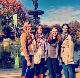 Jessica Deyoe '15 with her friends. (From left to right): Kathryn McKenna '15, Jessica, Brianna Ryan '15 and Lauren Mazzo '15.