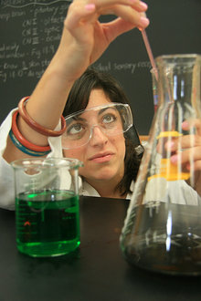 Jessica Spinella works as a prep lab assistant for her campus job.