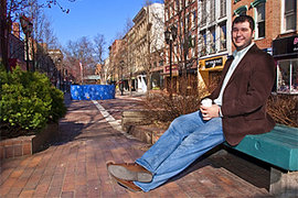 John O'Hara '09 on the Ithaca Commons. Photo: Mike Grippi '10