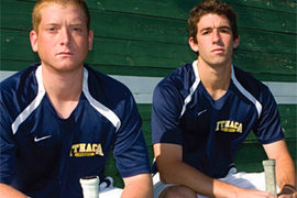 Josh Rifkin '11 (left) and Taylor Borda '10 put on their game faces for the camera. Photo by Jeff Goodwin '10