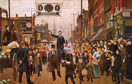 Julius Kessler, The Lost Bet (1893). Parade with banner showing portraits of Grover Cleveland, Adlai Stevenson, and John Altgeld (Library of Congress)