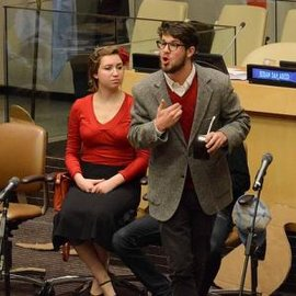 Kai Schidlovsky �14 and Rachel Benjamin �17 perform with IC Teatro at the United Nations.