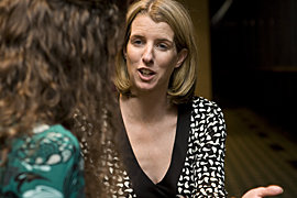 Karin Fleming '09 interviews Rory Kennedy, who carries on a longstanding family tradition of caring.          Photo by Sheryl D. Sinkow