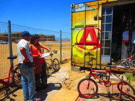 Kat Power hard at work in Cape Town, South Africa for the Bicycle Empowerment Network.
